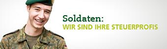 Junger Soldat und Schrift Soldaten: Wir sind Ihre Steuerprofis