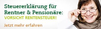 Rentnerin und Schrift: Steuererklärung für Rentner und Pensionäre - Vorsicht Rentensteuer!